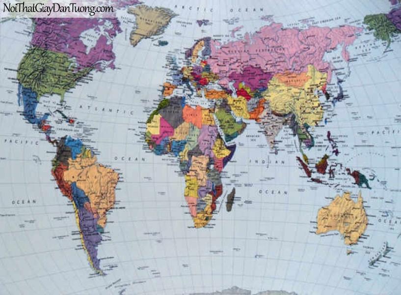 Tranh dán tường Komar (Đức) 4-050 | Bản đồ thế giới