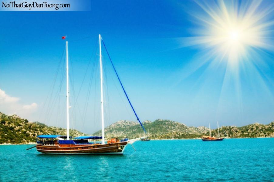 Tranh dán tường | Thuyền trên vịnh đón nắng