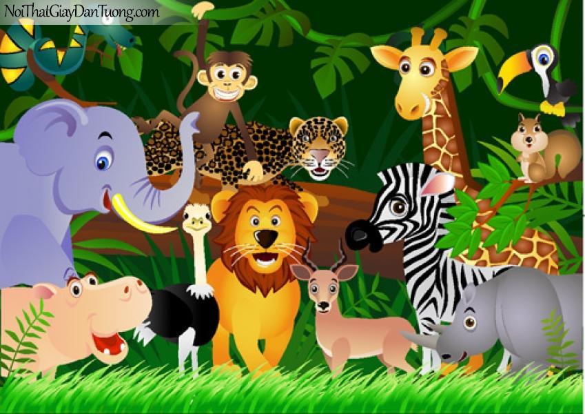 Tranh dán tường | Tranh động vật trong rừng quây quần rất đáng yêu