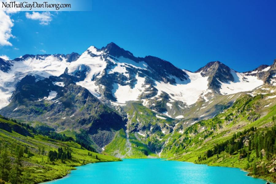 Tranh dán tường, nước xanh lơ, bờ xanh lá núi đá vương tuyết trắng