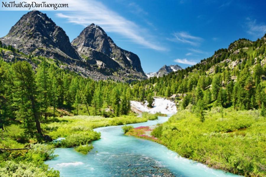 Tranh dán tường, sông nước núi non
