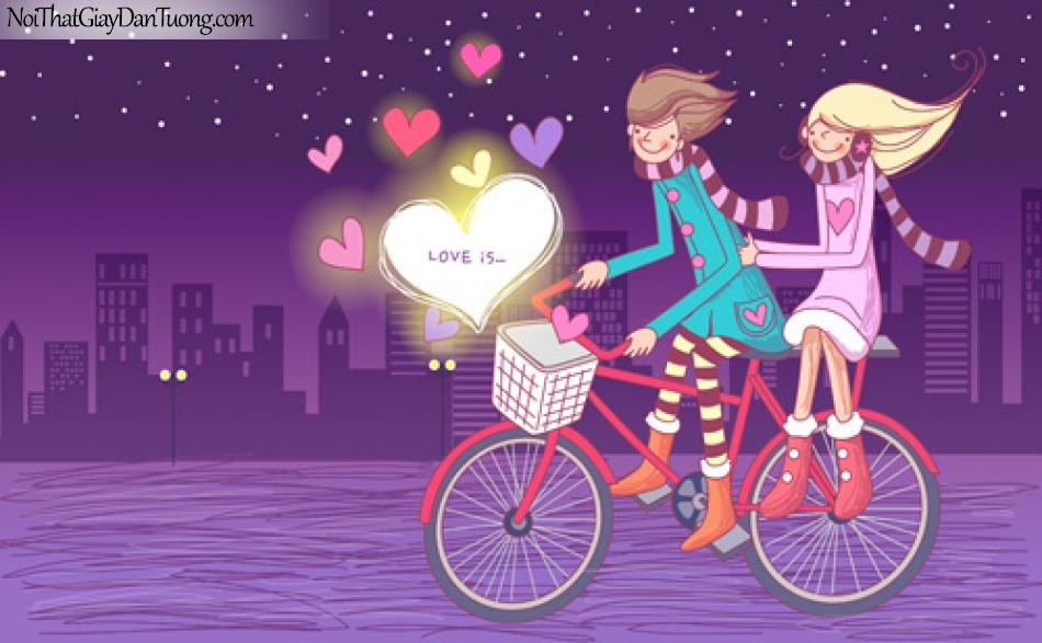 Tranh dán tường, xe đạp dạo phố