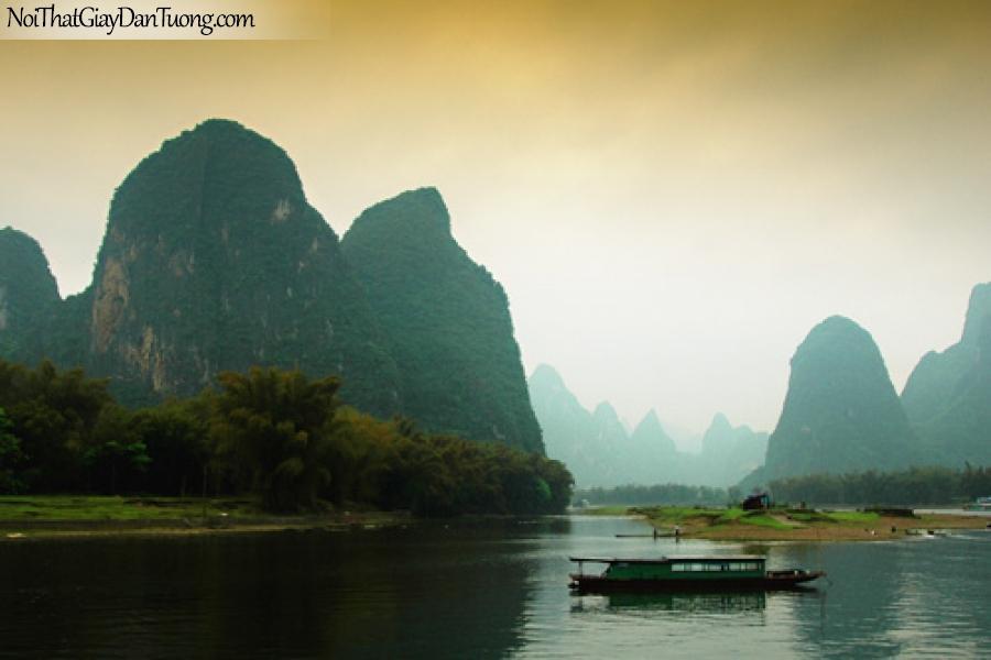 Tranh dán tường, cảnh núi non sông nước