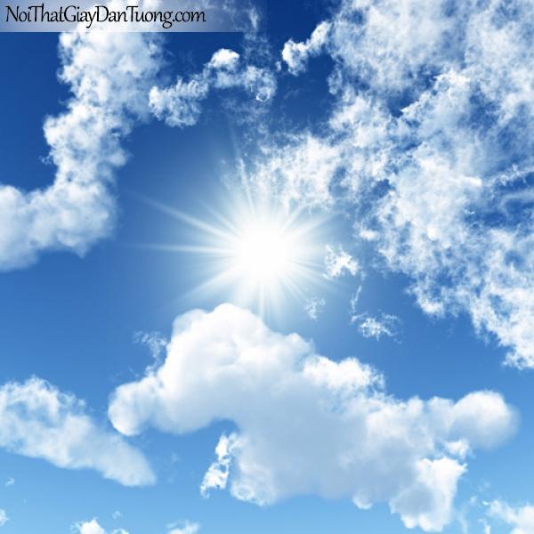 Tranh dán tường, bầu trời mây trắng và những tia nắng DA0097
