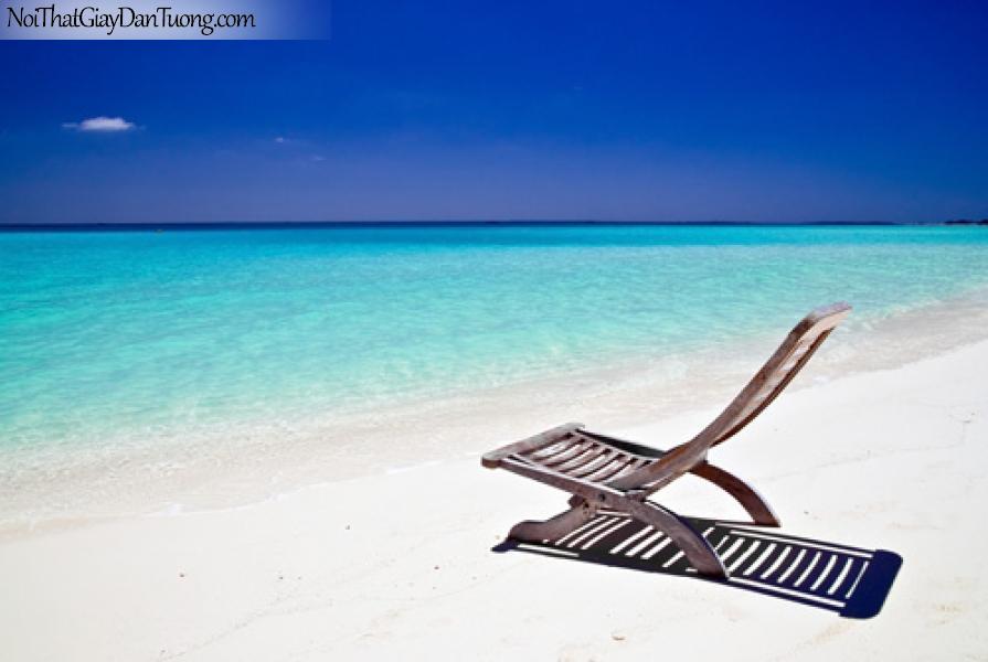Tranh dán tường biển xanh, nước biển, bãi biển