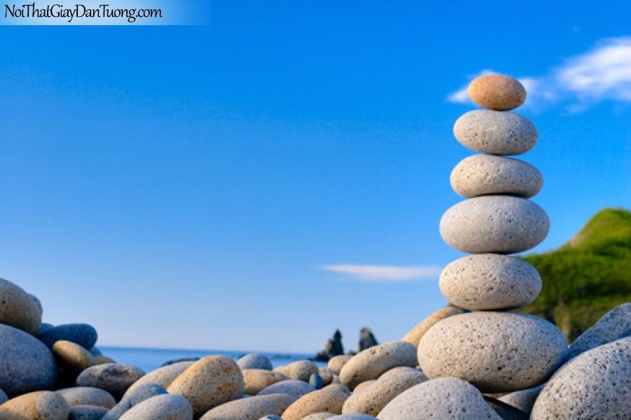Tranh dán tường, những viên đá ven bở biển, biển xanh, mây trời DA0104