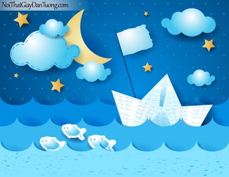 Tranh dán tường dành cho bé, cảnh thuyền biển bầu trời xanh DA4018