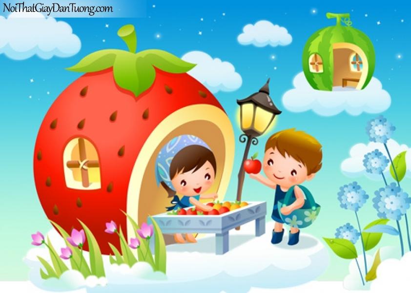Tranh dán tường trẻ em, ngôi nhà trái cây xinh xắn DA4013