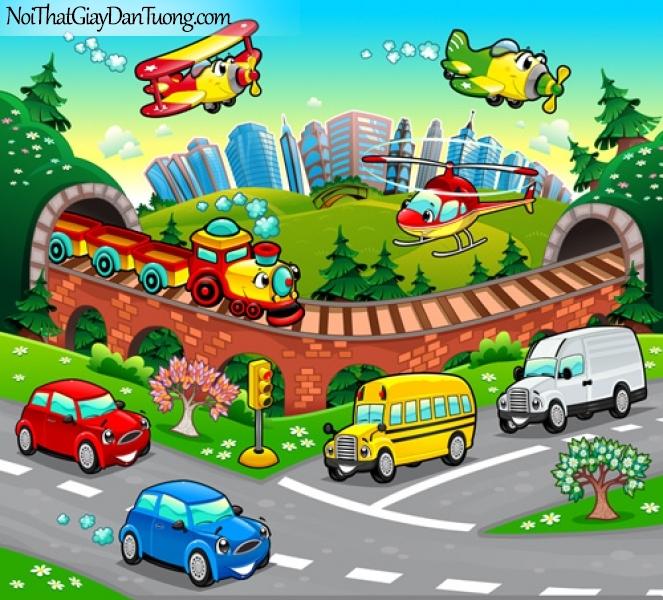 Tranh dán tường trẻ em, thành phố, xe hơi, tàu hỏa máy bay DA4019