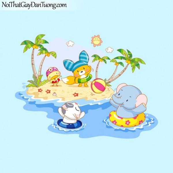 Tranh dán tường dành cho bé, chuột, voi, ....vv tắm biển DA4024