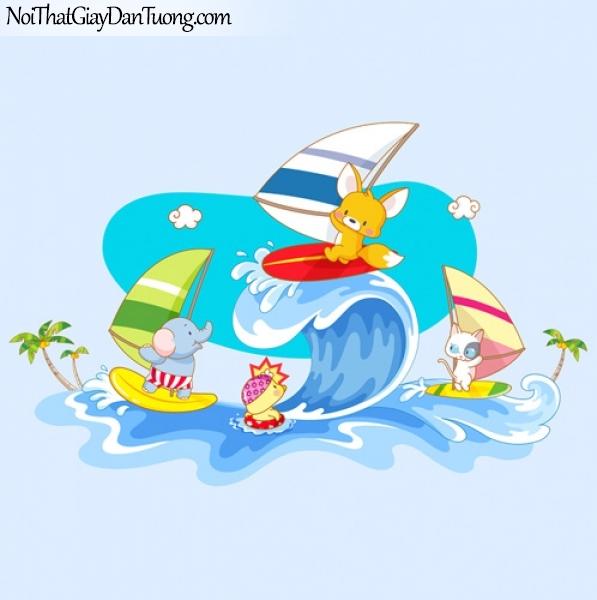 Tranh dán tường dành cho bé, lướt sóng cùng chuột và voi DA4030