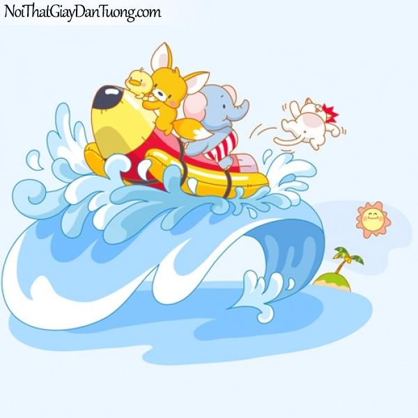 Tranh dán tường trẻ em, cùng đi tàu thủy với chuột và voi DA4029