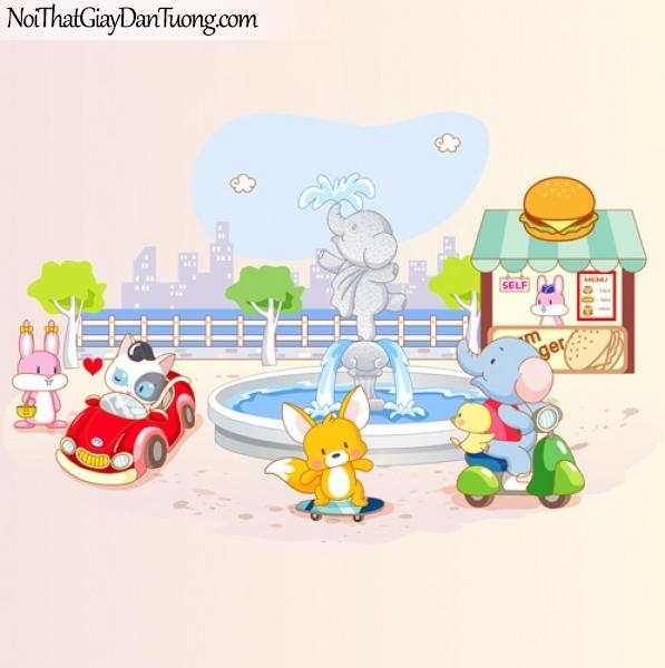 Tranh dán tường trẻ em, khu vui chơi của những con vật đáng yêu DA4023