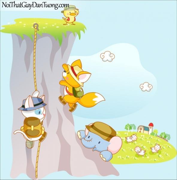Tranh dán tường trẻ em, leo cây cùng thỏ và voi DA4028