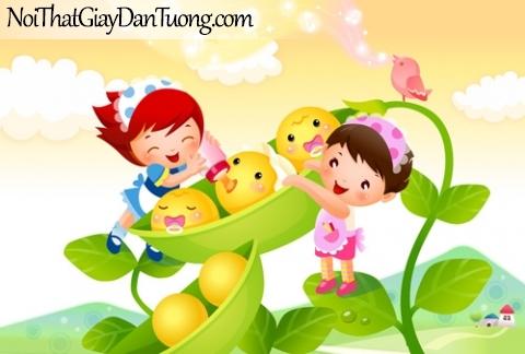 Tranh dán tường dành cho bé, bé yêu chăm sóc cây quả DA4044