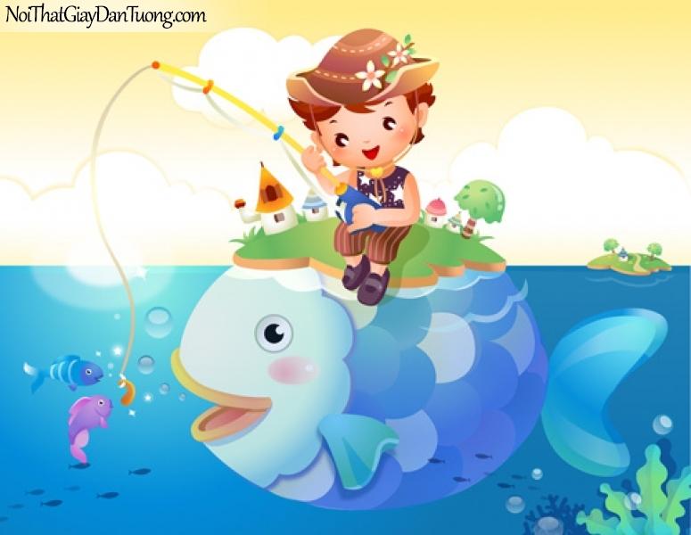 Tranh dán tường dành cho bé, câu cá cùng bé DA4035