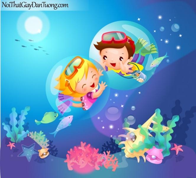 Tranh dán tường dành cho bé, cùng bé khám phá đại dương DA4042