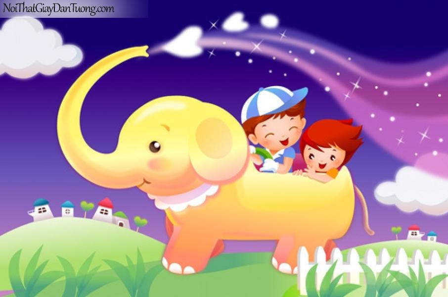 Tranh dán tường dành cho bé, bé vui cùng voi con DA4054