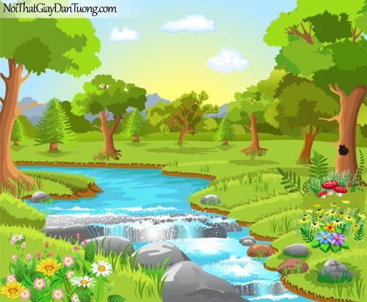 Tranh dán tường dành cho bé yêu, con suối chảy trong rừng xanh DA4077