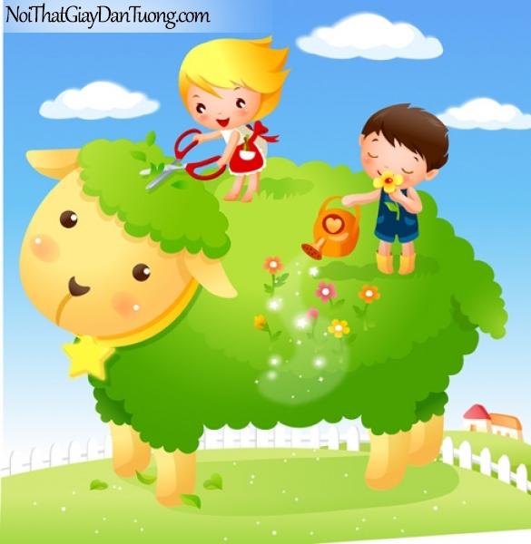 Tranh dán tường dành cho bé yêu, cùng bé chăm sóc khu vườn của mình trên những chú lừa dễ thương DA4064