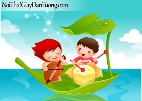 Tranh dán tường dành cho bé yêu, cùng bé chơi nhạc trên những chiếc lá trôi trên biển lặng DA4065