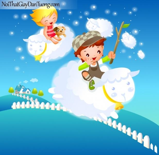 Tranh dán tường dành cho bé yêu, cùng bé cưỡi những chú lừa xinh xắn dạo chơi trên bầu trời của bé DA4067
