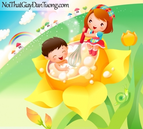 Tranh dán tường dành cho bé yêu, cùng bé vui chơi trong hồ tắm DA4061