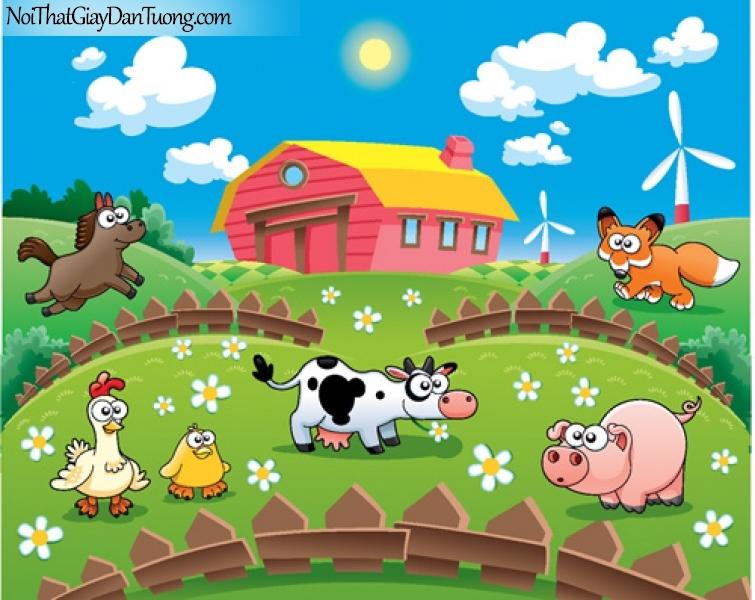 Tranh dán tường dành cho bé yêu, cùng bé vui chơi với những thú nuôi của mình DA4075