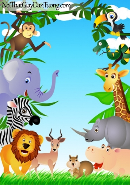 Tranh dán tường dành cho bé yêu, những con thú ngộ nghĩnh trong rừng xanh DA4078