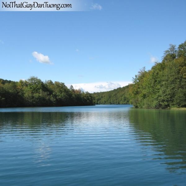 Tranh dán tường, hồ lặng bầu trời xanh DA0197