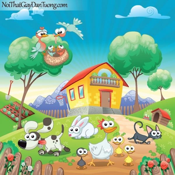 Tranh dán tường dành cho bé yêu, những con thú cưng quanh ngôi nhà của bé DA4089