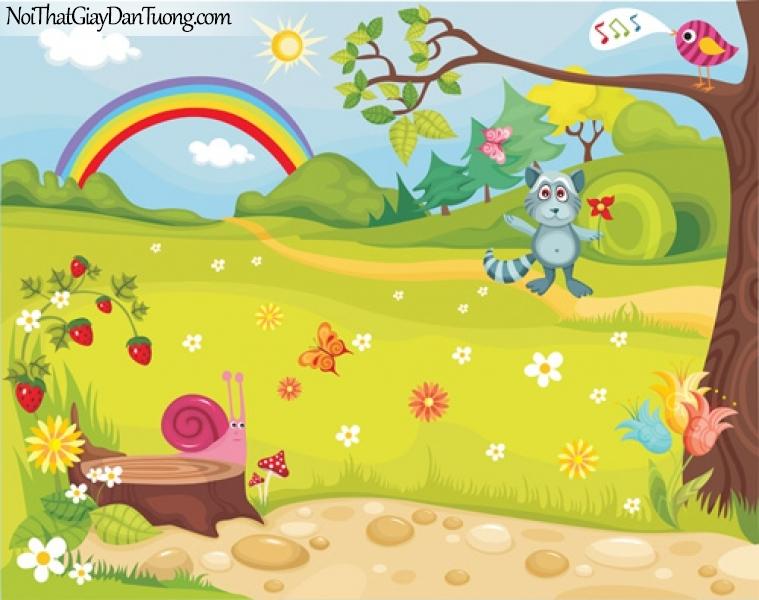 Tranh dán tường dành cho bé, bầu trời cầu vồng, cỏ cây hoa lá sinh vật DA4091