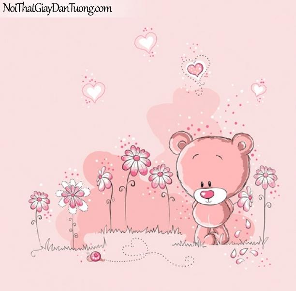Tranh dán tường dành cho bé, trái tim, hoa lá cỏ cây DA4090