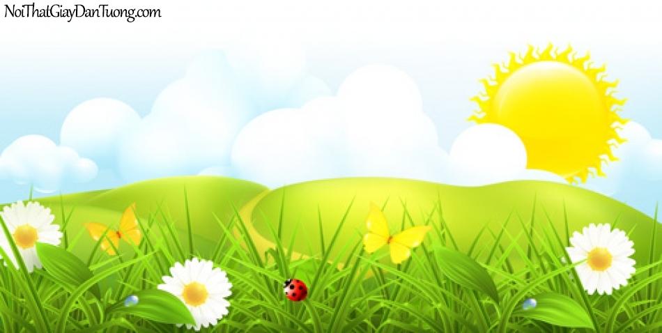 Tranh dán tường dành cho bé yêu, bãi cỏ con đường và bầu trời DA4103