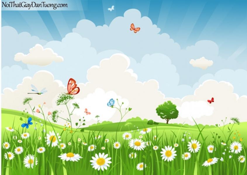 Tranh dán tường dành cho bé yêu, cỏ cây hoa và lá giữa thảm cỏ xanh DA4118