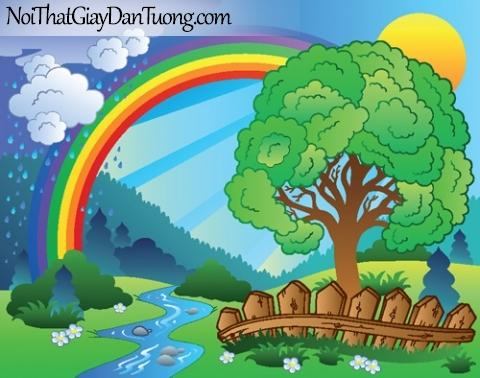 Tranh dán tường dành cho bé yêu, con suối chảy trong rừng sau cơn mưa dưới 7 sắc cầu vồng DA4096