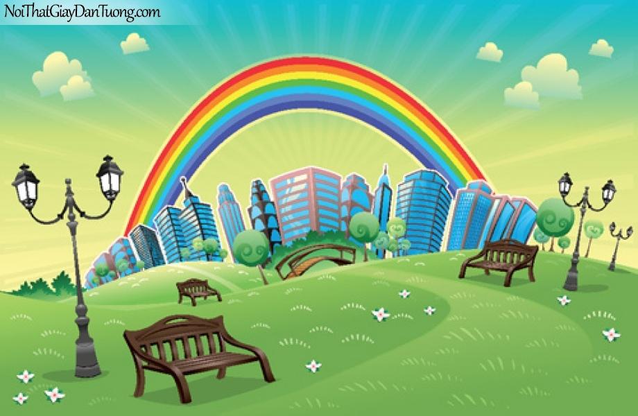 Tranh dán tường dành cho bé yêu, công viên thành phố cùng 7 sắc cầu vồng DA4094