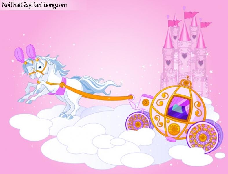 Tranh dán tường dành cho bé yêu, cùng bé bay vào bầu trời hồng trên lâu đài của mình DA4114