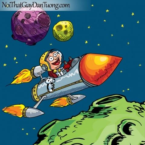 Tranh dán tường dành cho bé yêu, cùng bé bay vào vũ trụ bao la rộng lớn DA4105