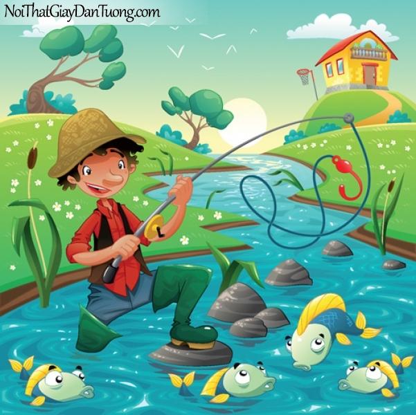 Tranh dán tường dành cho bé yêu, cùng bé câu cá DA4100