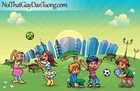 Tranh dán tường dành cho bé yêu, cùng bé vui chơi trong công viên thành phố DA4095