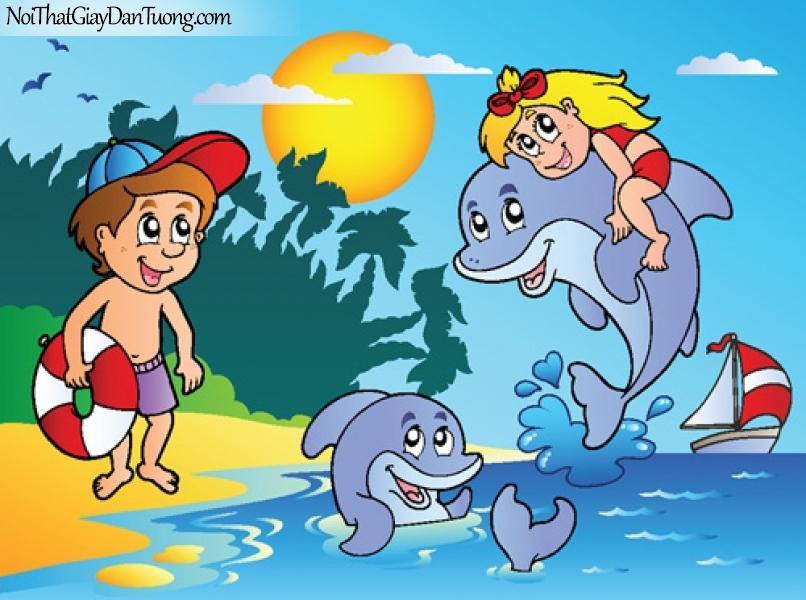 Tranh dán tường dành cho bé yêu, cùng bé vui chơi với những chú cá heo DA4106