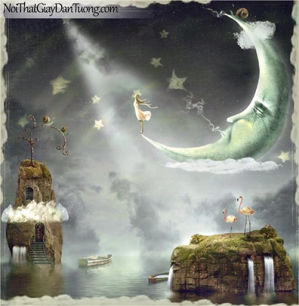 Tranh dán tường dành cho bé yêu, cùng bé yêu bay vào bầu trời với lâu đài vầng trăng và nàng công chúa cổ tích DA4123