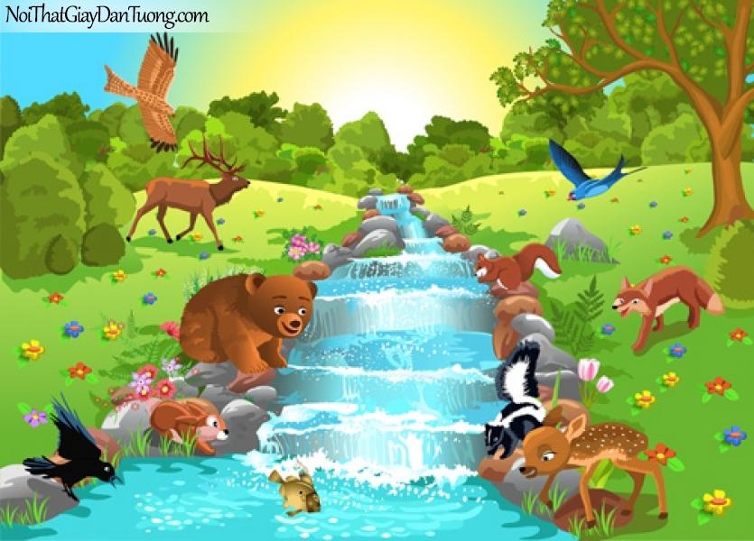 Tranh dán tường dành cho bé yêu, những con thú cưng bên dòng suối chảy trong rừng DA4124