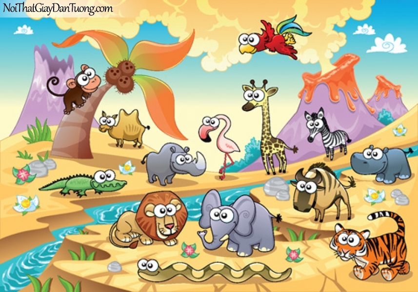 Tranh dán tường dành cho bé yêu, những con thú hoang dã bên dòng suối chảy giữa sa mạc và núi lửa DA4097