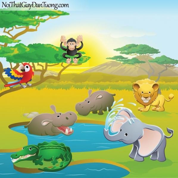Tranh dán tường dành cho bé yêu, những con thú hoang dã vui chơi bên hồ nước giữa xa mạc DA4109