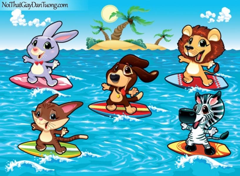 Tranh dán tường dành cho bé yêu, những con thú lướt sóng biển DA4098