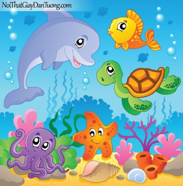 Tranh dán tường dành cho bé yêu, những sinh vật dưới lòng đại dương DA4122