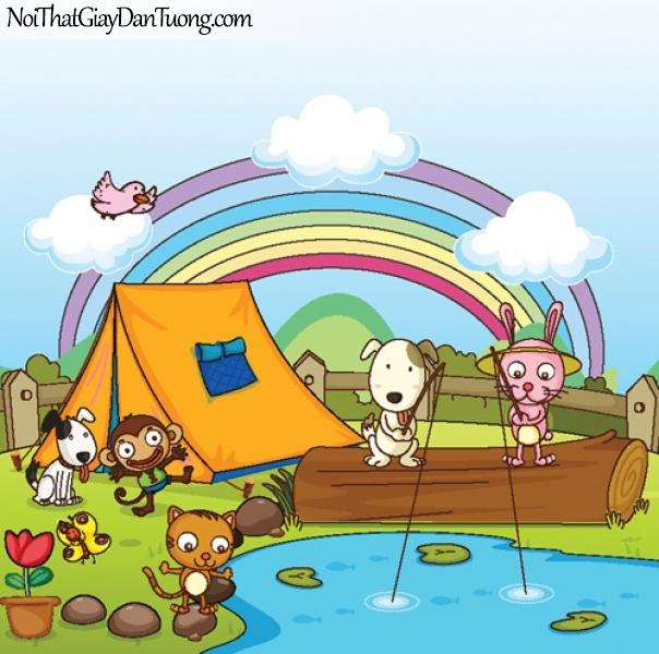 Tranh dán tường dành cho bé yêu, cùng bé cắm trại dã ngoại với những con thú cưng của mình DA4126