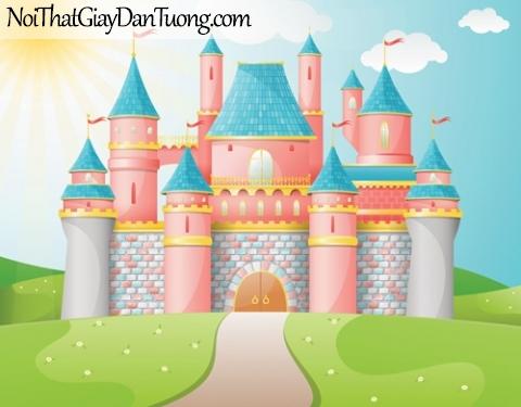 Tranh dán tường dành cho bé yêu, lâu đài màu hồng giữa bãi cỏ xanh DA4129